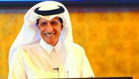 HE Sheikh Abdullah bin Mohamed bin Saud al-Thani speaking at the event. PICTURE: Ram Chand