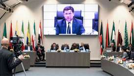 Left to right: Russian energy minister Alexander Novak (speaking), Kuwait's Oil minister Essam al-Ma