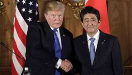 Trump stands with Japan against N.Korean 'menace'