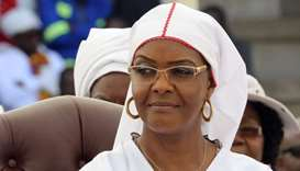 Zimbabwean President Robert Mugabe's wife Grace Mugabe looks on during a national church interface r