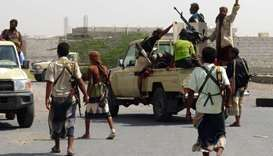 Yemeni pro-government forces gather on the eastern outskirts of Hodeidah