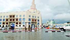 Waterlogging in front of Fanar, Doha, on Sunday.