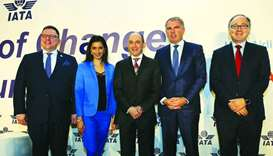 Akbar al-Baker (centre) with others at the IATA Wings of Change Conference.