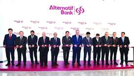 Commercial Bank and Alternatif Bank officials at the opening of the new head office of Alternatif Ba