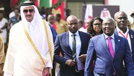 His Highness the Amir Sheikh Tamim bin Hamad al-Thani is welcomed by Ghanaian President Nana Akufo-A