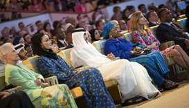 His Highness the Father Amir and Her Highness Sheikha Moza  attending the opening session of WISH