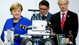 German Chancellor Angela Merkel, Hesse's Science Minister Boris Rhein and President of Darmstadt Uni