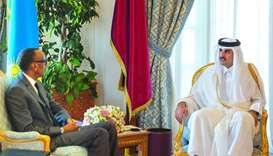 His Highness the Amir Sheikh Tamim bin Hamad al-Thani and Rwandan President Paul Kagame holding talk