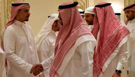 Salah Khashoggi (L), the son of murdered Saudi journalist Jamal Khashoggi, and his relatives receive