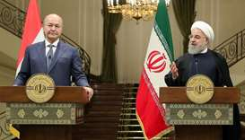Iran's President Hassan Rouhani speaks during a news conference with Iraq's President Barham Salih i