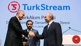 Erdogan, Putin celebrate key step in Russia-Turkey gas pipeline
