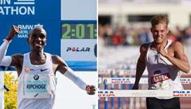 Eliud Kipchoge and Kevin Mayer