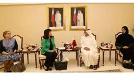 HE al-Mahmoud met a delegation of the Secretariat of the Inter-Parliamentary Union (IPU), including