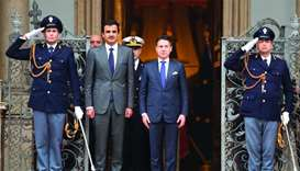His Highness the Amir Sheikh Tamim bin Hamad al-Thani with Italian Prime Minister Giuseppe Conte dur