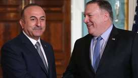 US Secretary of State Mike Pompeo (R) meets with Turkish Foreign Minister Mevlut Cavusoglu