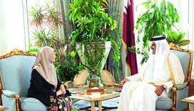His Highness the Amir Sheikh Tamim bin Hamad al-Thani meets with Malaysia's Deputy Prime Minister Wa