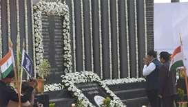 Devendra Fadnavis, Chief minister of Maharashtra, pays respect at the Police Memorial, during an eve