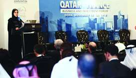 Sheikha Alanoud delivering a speech during the 'Qatar-France Business and Investment Forum' held at