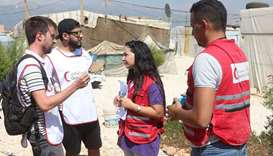 QRCS volunteers at a refugee camp in Joub Jannine
