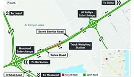 Temporary diversion on Salwa Road from Thursday