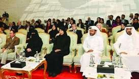 HE the Minister of Public Health Dr Hanan Mohamed al-Kuwari and other dignitaries at the launch of t
