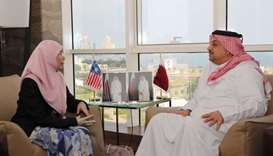 HE the Minister and Minister of State for Defence Affairs Dr Khalid bin Mohamed al- Attiyah met Mala