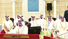 HE the Minister of Transport and Communications Jassim bin Seif al-Sulaiti heading the Qatari delega