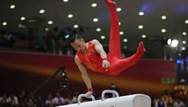 Long Rye Pyon of North Korea competes on the Vault exercise