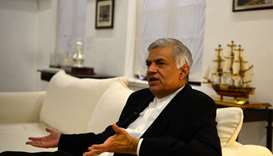 Sri Lanka's ousted prime minister Ranil Wickremesinghe speaks during an interview with AFP in Colomb