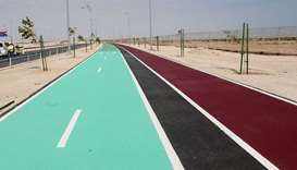 The cycle track along Al Khor-Doha Expressway