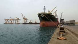 Ship carrying a shipment of grain is docked at the Red Sea port of Hodeidah