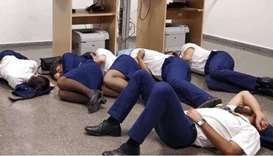 Ryanair crew sleeping on floor