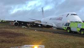 Boeing 747 cargo jet went off the runway at the Halifax airport in eastern Canada