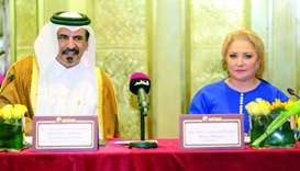 Al-Kuwari and Dancila during a meeting in Doha on Wednesday.  PICTURE: Jayan Orma