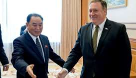 Secretary of State Mike Pompeo, right, and Kim Yong Chol, left, a North Korean senior ruling party o