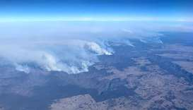 Photo  shows bushfires taken from a plane in over north eastern New South Wales.