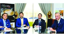 Italian ambassador Pasquale Salzano (2nd from left) during the press conference held to announce the