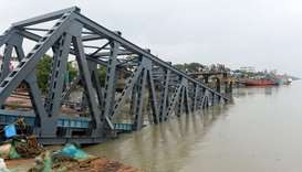 A collapsed jetty is pictured in Hatania Doania river after cyclone Bulbul hit the area in Namkhana,