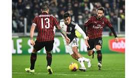 Juventus' Paulo Dybala in action during the Serie A match against AC Milan at the Allianz Stadium in