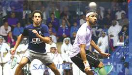 Abdulla al-Tamimi eyes a shot against Tarek Momen during their third round clash yesterday.