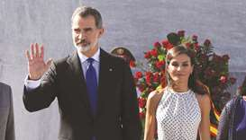 Spain's King Felipe and Queen Letizia attend a wreath-laying ceremony at the Jose Marti monument in