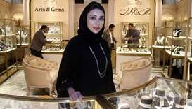 Mariam Ali al-Khalaf at Arts and Gems booth at the exhibition. PICTURES: Jayaram.