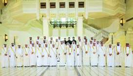 His Highness the Amir Sheikh Tamim bin Hamad al-Thani with  Shura council members