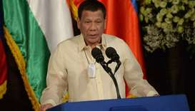 Philippine President Rodrigo Duterte speaking during a joint press conference on October 18 with his