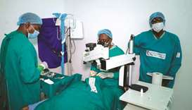 QRCS team performing cataract surgery in Sudan.