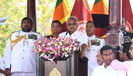 Sri Lanka's new president Gotabaya Rajapaksa (C) speaks during his swearing-in ceremony at the Ruwan