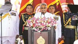 Sri Lanka's President-elect Gotabaya Rajapaksa addresses the nation at the presidential swearing-in