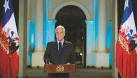 Chilean President Sebastian Pinera addresses the nation in Santiago.