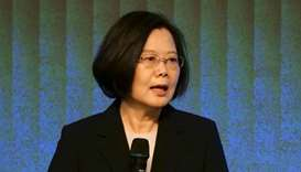 Taiwan's President Tsai Ing-wen speaks to members of the American Chamber of Commerce at their annua