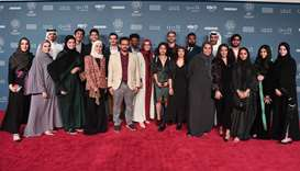 The 2019 'Made in Qatar' filmmakers during the 'Made in Qatar' red carpet at the Ajyal Film Festival